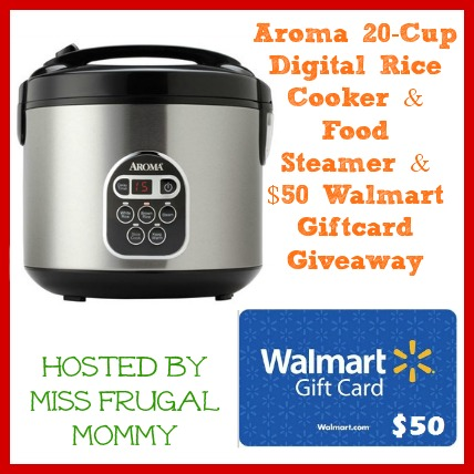 Enter to win the Aroma 20-Cup Digital Rice Cooker & $50 Walmart Gift Card Giveaway. Ends