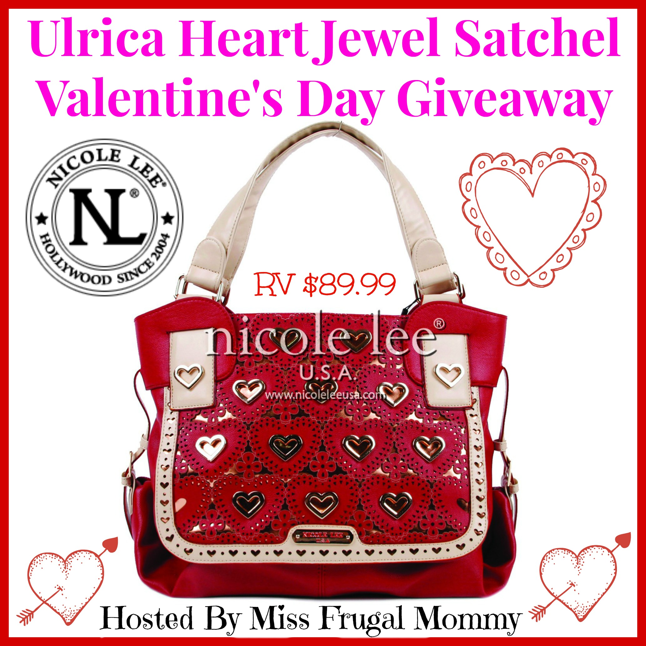 Enter the Ulrica Heart Jewel Satchel Giveaway. Ends 2/27.