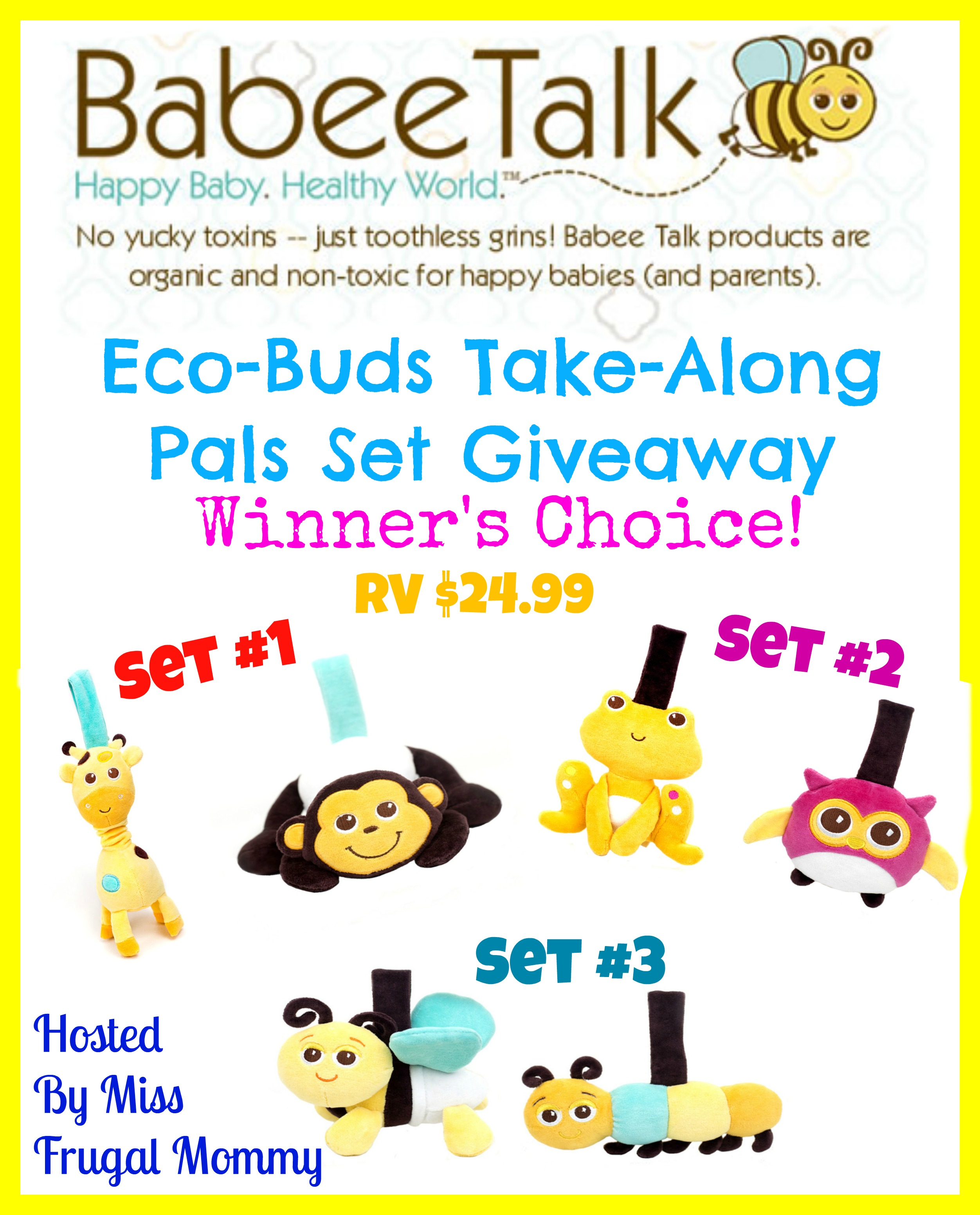 Eco-Buds Take-Along Pals Giveway (Winner's Choice)
