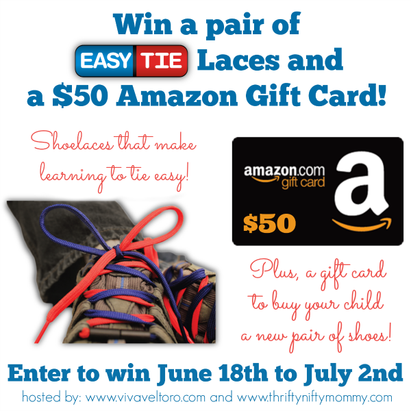 Easy Tie Shoelaces + $50 Amazon Gift Card Giveaway
