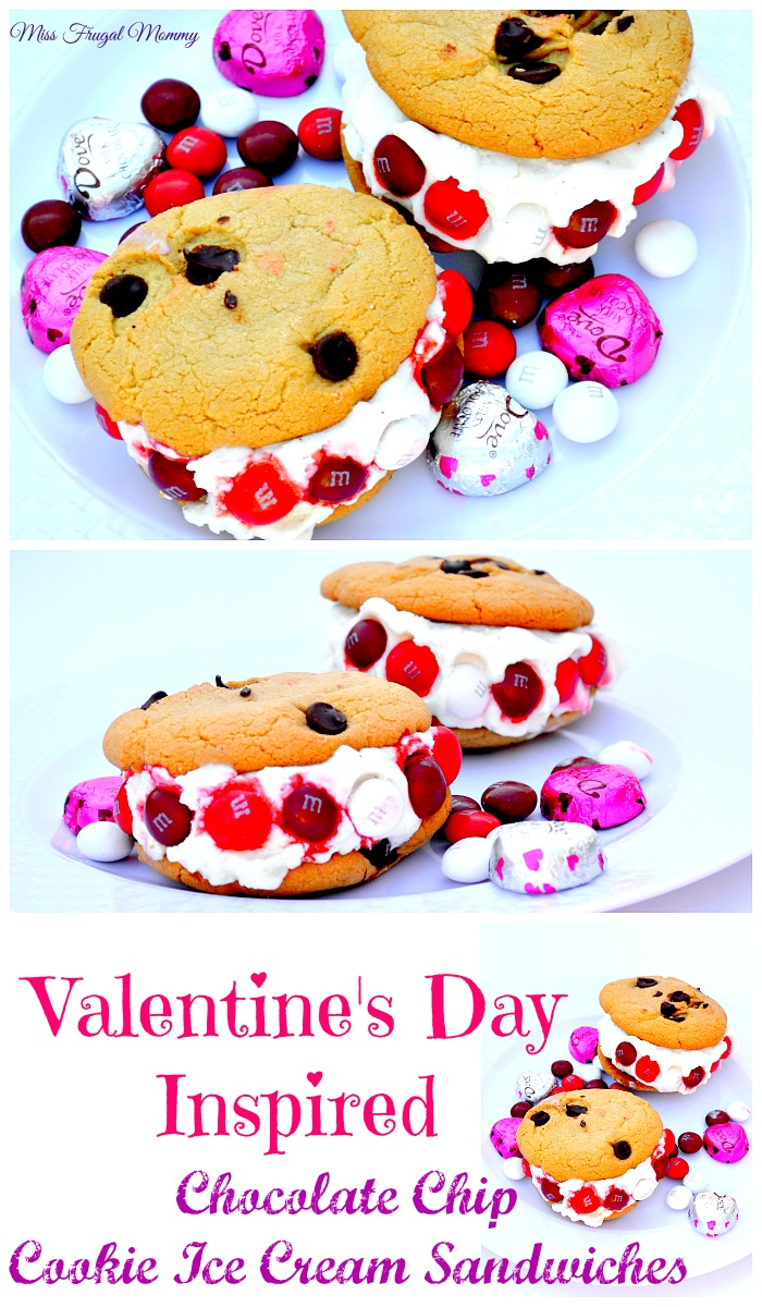 Valentine's Day Inspired Chocolate Chip Cookie Ice Cream Sandwiches