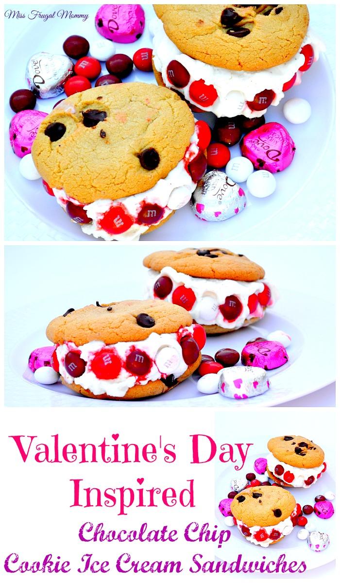 Valentine's Day Inspired Chocolate Chip Cookie Ice Cream Sandwiches ...