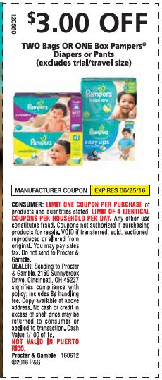 Pampers money off coupons