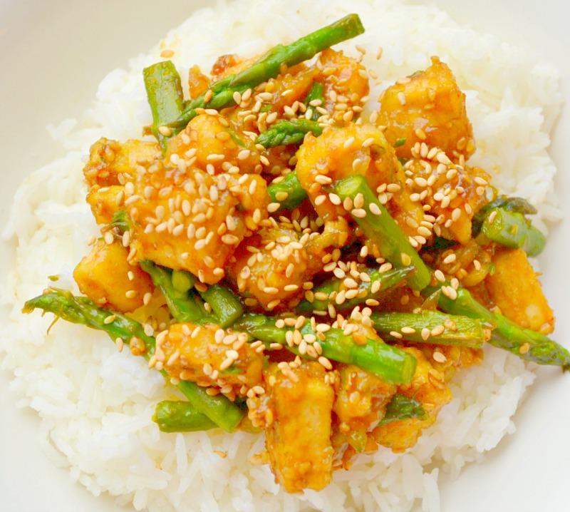 Fried Sesame Tofu With Asparagus