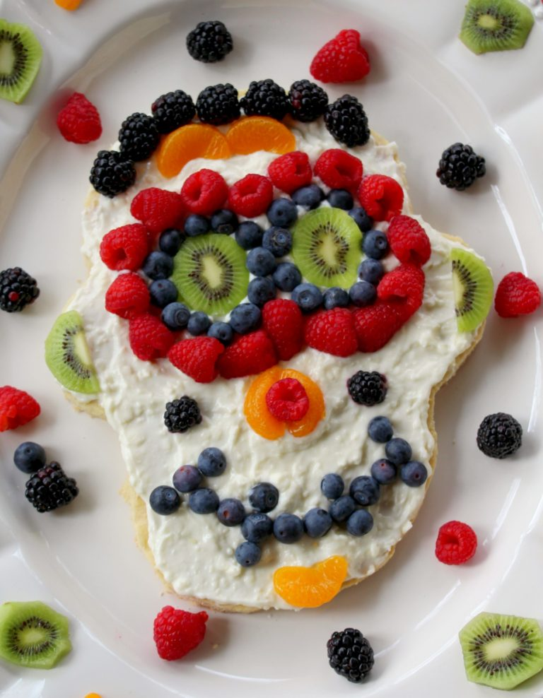 Day Of The Dead Sugar Skull Fruit Pizza