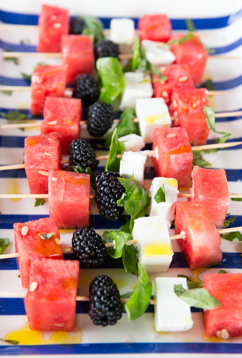 Watermelon, Feta, & Blackberry Skewers