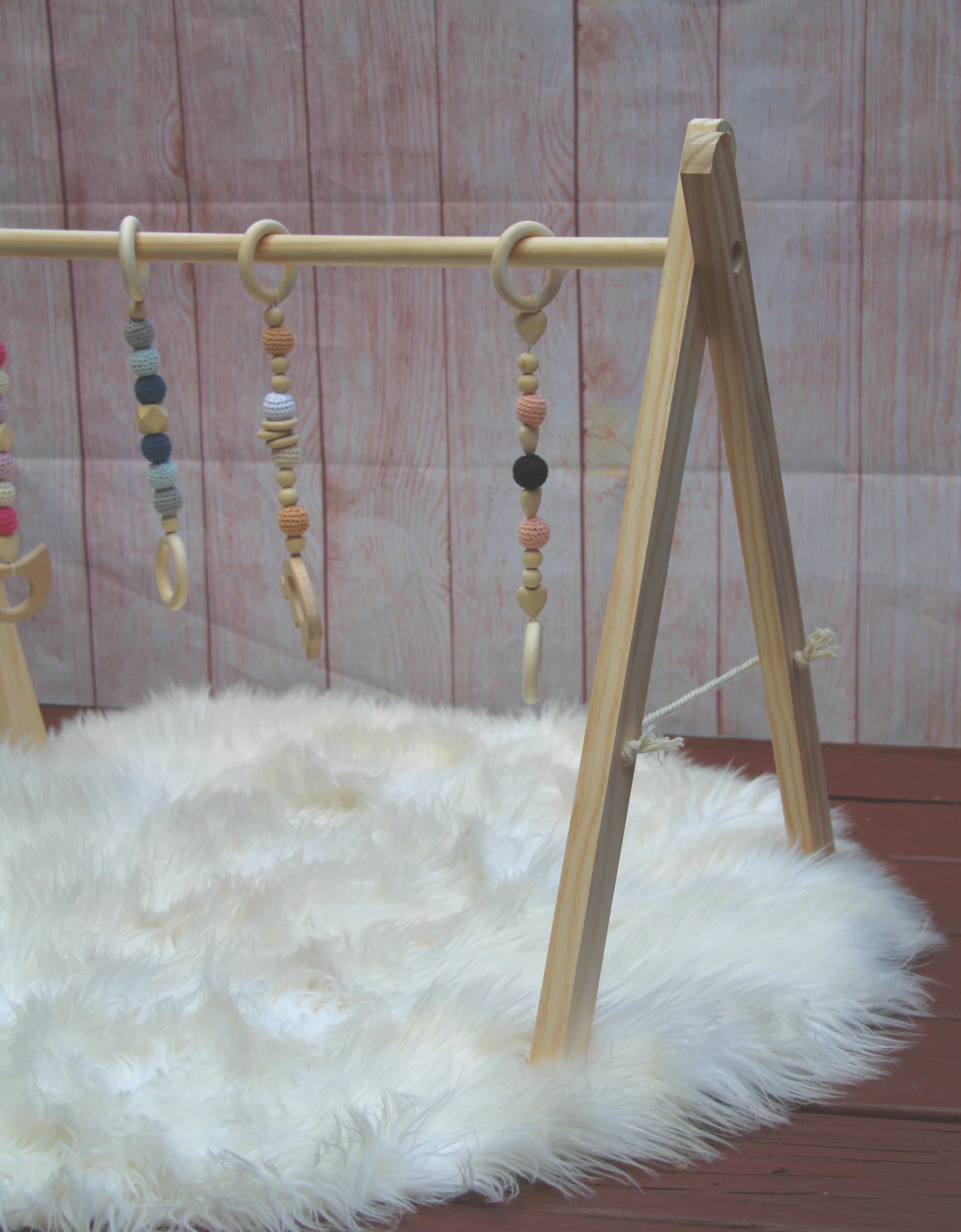 Natural Wood Baby Play Gym From Bitty Baby Workshop
