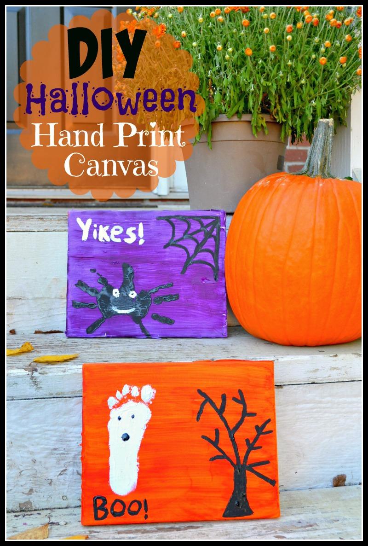 DIY Halloween Hand Print Canvas
